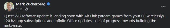 mark zuckerberg confirms oculus v28 update